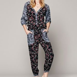 FREE PEOPLE LEIA MULTICOLOR FLORAL JUMPSUIT M
